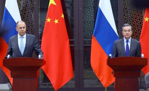 Foreign Minister Sergey Lavrov talks with Foreign Minister of China Wang Yi