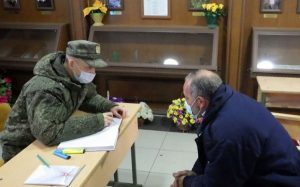Russian peacekeepers in reception point of citizens