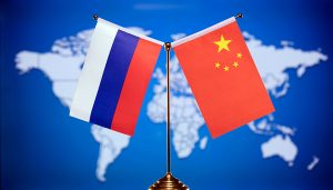 Russia & China flags