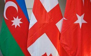 Azerbaijan, Turkey, Georgia flags