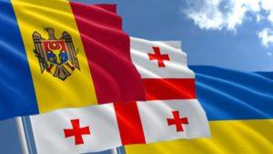 Georgia, Moldova, Ukraine flags