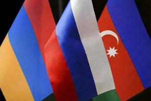 Armenia, Russia, Azerbaijan flags