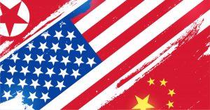 China, N. Korea, US flags